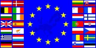 Vlaggen van de Europese Unie Stock Afbeeldingen