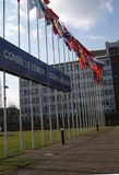 Vlaggen van de lidstaten van de Raad van Europa, Straatsburg, Frankrijk Royalty-vrije Stock Foto's