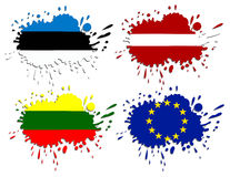 Vlaggen van de Oostzee als vlekken Stock Afbeeldingen