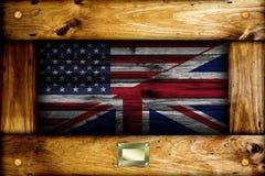 Vlaggen van de V.S. en het Verenigd Koninkrijk stock foto's