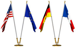 Vlaggen van de V.S., Europese Unie, Duitsland en Frankrijk Royalty-vrije Stock Afbeelding