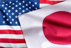 Vlaggen van de vlag van de Verenigde Staten van Amerika en van Japan samen royalty-vrije stock foto's