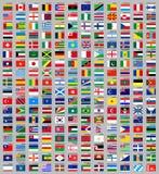 216 vlaggen van de wereld Royalty-vrije Stock Afbeeldingen
