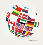 Vlaggen van de wereld in bol royalty-vrije illustratie