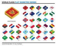 Vlaggen van de wereld, Mej., 3d isometrisch vlak pictogramontwerp Stock Afbeelding