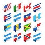 Vlaggen van de Wereld, Noord-Amerika Stock Fotografie