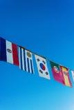 Vlaggen van de wereld op een banner Stock Foto's
