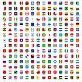 Vlaggen van de Wereld - pictogrammen Stock Afbeeldingen
