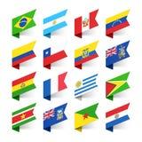 Vlaggen van de Wereld, Zuid-Amerika Stock Afbeeldingen