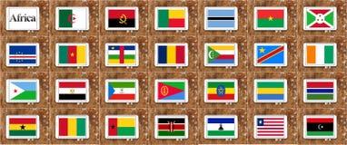 Vlaggen van deel 1 van de landen van Afrika in alfabetische volgorde Stock Foto's