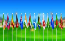Vlaggen van deelnemende landen van veenmol 2015 Stock Afbeelding