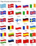 Vlaggen van Europa (golvende stijl) Royalty-vrije Stock Foto's