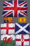 Vlaggen van het Verenigd Koninkrijk - voor Knipsel Stock Foto's