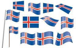 Vlaggen van IJsland Royalty-vrije Stock Foto's