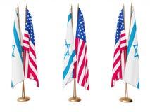 Vlaggen van Israël en de Verenigde Staat Stock Fotografie
