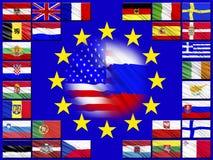 Vlaggen van landen die tot de Europese Unie behoren Stock Fotografie
