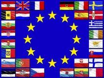 Vlaggen van landen die tot de Europese Unie behoren Stock Foto's