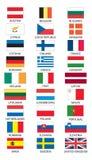 Vlaggen van lidstaten van Euro Royalty-vrije Stock Afbeeldingen