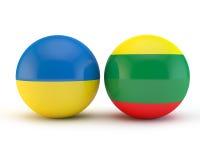Vlaggen van Litouwen en de Oekraïne Stock Foto's