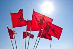 Vlaggen van Marokko Stock Foto