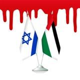 Vlaggen van Palestina en Israël met het bloed stock illustratie