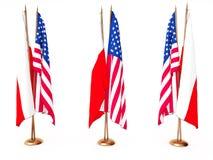 Vlaggen van (Pools) Polen en de Verenigde Staat Royalty-vrije Stock Afbeelding