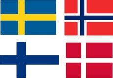 Vlaggen van Scandinavië Stock Fotografie