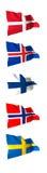 Vlaggen van Scandinavië Stock Foto