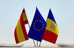Vlaggen van Unie en Andorra van Spanje de Europese royalty-vrije illustratie