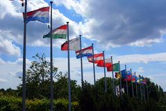 Vlaggen van Unie Eripean Stock Foto's
