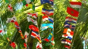 Vlaggen van verschillende die landen op de zomerpalmen worden opgeschort stock videobeelden