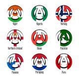 Vlaggen van verschillende landen van de wereld in de vorm van een teken van anarchie vector illustratie