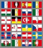 Vlaggen van voetbalteams en zilveren voetbaltrophee, Frankrijk Royalty-vrije Stock Afbeeldingen