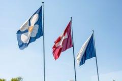 Vlaggen van Zürich en Zwitserland Royalty-vrije Stock Foto