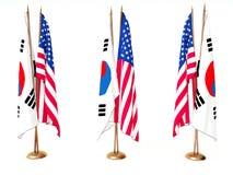 Vlaggen van Zuid-Korea en de Verenigde Staat Royalty-vrije Stock Foto's