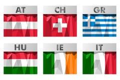 Vlaggen in veelhoekige stijl Royalty-vrije Stock Afbeelding