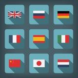Vlaggen in vlak ontwerp Stock Illustratie