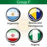 Vlaggen - voetbal Brazilië, groep F - Argentinië, Bosnië-Herzegovina, Iran, Nigeria Stock Foto's