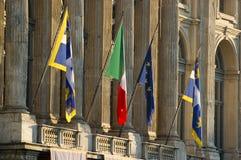 Vlaggen voor Palazzo Madama in Turijn Royalty-vrije Stock Afbeelding