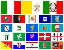 Vlaggengebieden van Italië Royalty-vrije Stock Foto's