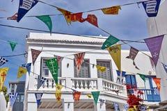 Vlaggengodsdienst in Mykonos royalty-vrije stock foto's
