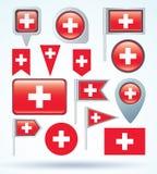 Vlaginzameling van Zwitserland, vectorillustratie Stock Fotografie