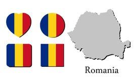 Vlagkaart Roemenië Stock Afbeeldingen