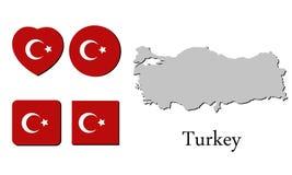 Vlagkaart Turkije Royalty-vrije Stock Afbeeldingen