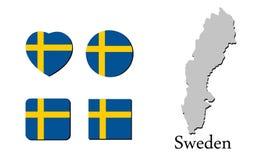 Vlagkaart Zweden Stock Afbeeldingen