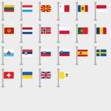 Vlagreeks alle Landen van Europa Naadloze bloemenachtergrond royalty-vrije illustratie