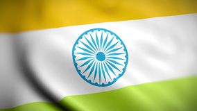 Vlagrepubliek India Close-up van de gegolfte vlag van India stock footage