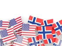 Vlagspelden van de V.S. en Noorwegen op wit Royalty-vrije Stock Afbeeldingen