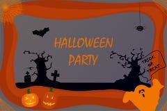 vlak Aanplakbord voor Halloween Pompoenen, spook, bomen, kruisen, spin, knuppel, spinnewebben op een gekleurde achtergrond royalty-vrije illustratie