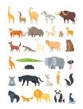 Vlak Afrikaans, wildernis en bosdieren Leuke zoogdieren en reptielen Wilde geïsoleerde fauna vectorreeks stock illustratie